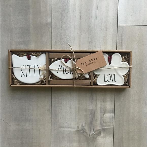 Rae Dunn cat ornaments